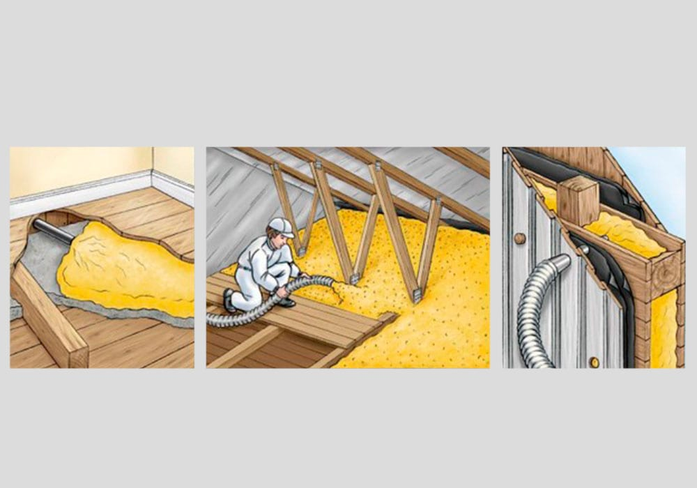 isolering av loft med blåseisolering